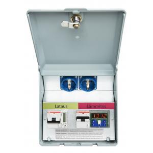 Lataus- ja lämmitysasema. Lataus 1*10A Schuko+kWh+Lämmitys 1